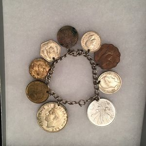 """⭐️STERLING SILVER 6.5"""" BRACELET 9 FOREIGN COINS"""